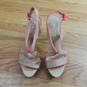 Also, Beige with Hot Pink Trim Heel Sandals